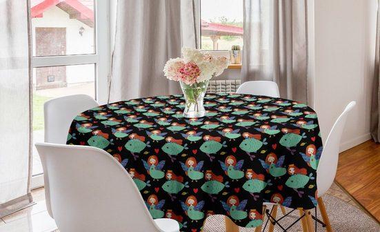 Abakuhaus Tischdecke »Kreis Tischdecke Abdeckung für Esszimmer Küche Dekoration«, angel Wings Abstrakt Mädchen mit Fisch