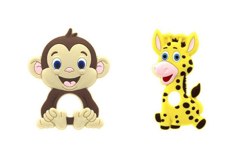 LIMDIX Beißring »Affe & Giraffe Baby Beißring aus Silikon BPA-frei - Zahnungshilfe«