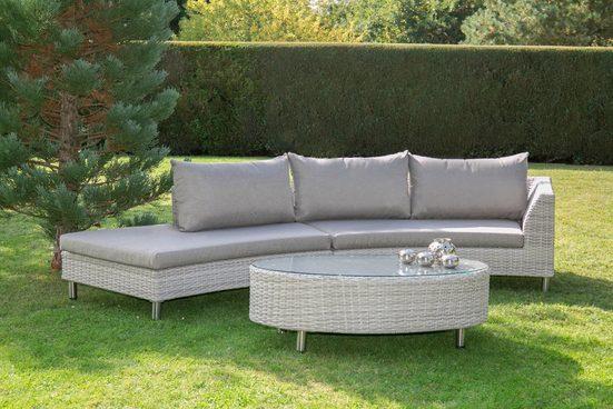 BELLASOLE Loungeset , 8-tlg., 2 Bänke, Tisch 130x79 cm, Polyrattan, cremeweiß