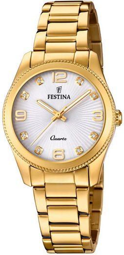 Festina Quarzuhr »UF20210/1 Festina Damen Uhr F20210/1 Edelstahl«, (Analoguhr), Damen Armbanduhr rund, Edelstahlarmband gold
