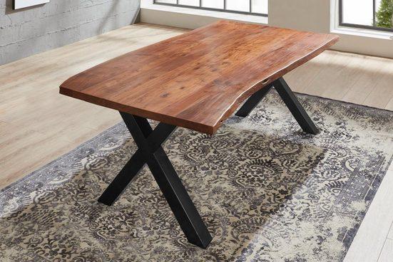 Junado® Baumkantentisch »Xanten«, Baumkante Tisch massiv Akazie X-Gestell Xanten