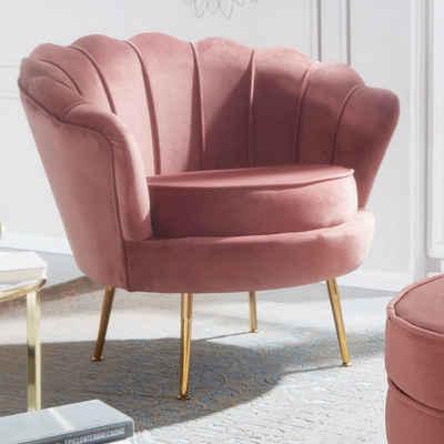 FINEBUY Polsterstuhl »FB29471«, Sessel Tulpe Samt Pink 81 x 77 x 81 cm Design Relaxsessel ohne Hocker, Fernsehsessel Stoff mit goldenen Beinen, Loungesessel Polstersessel Wohnzimmer 120 kg