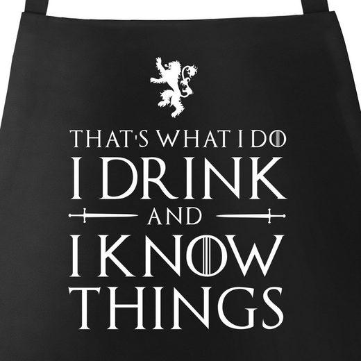 MoonWorks Grillschürze »Grill-Schürze für Männer mit Spruch - I drink and I know things Küchen-Schürze Moonworks®«, mit kreativem Aufdruck