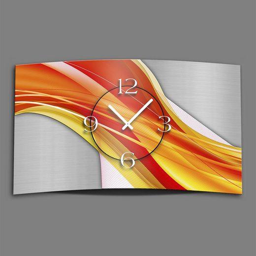 dixtime Wanduhr »Abstrakt gelb rot Designer Wanduhr modernes Wanduh« (Einzigartige 3D-Optik aus 4mm Alu-Dibond)