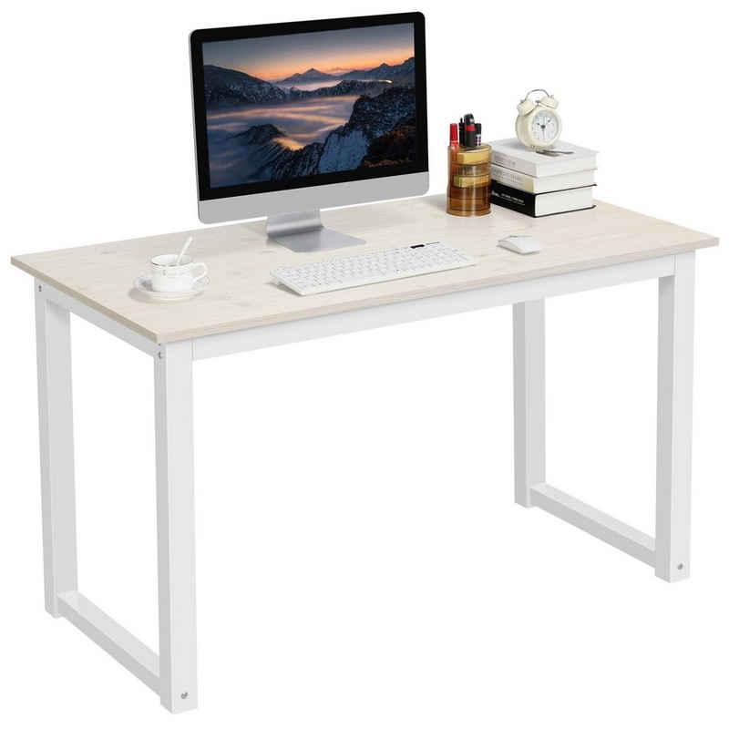 Yaheetech Computertisch, Schreibtisch Metall&Holz, PC-Tisch, Officetisch Stabile Konstruktion, Tisch für Home Office (120cm Beige)