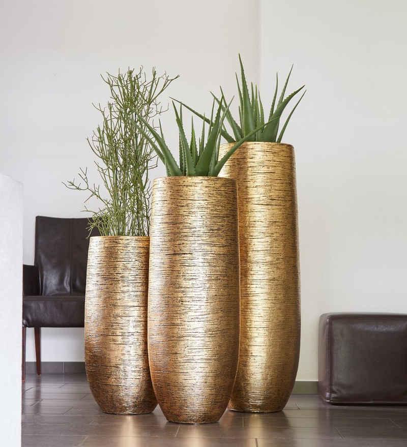Flingora Bodenvase »Lacey«, mit Einsatz - Fiberglas Pflanzvase - Indoor - Metallisch Gold - Höhe 75 cm / Ø 38 cm