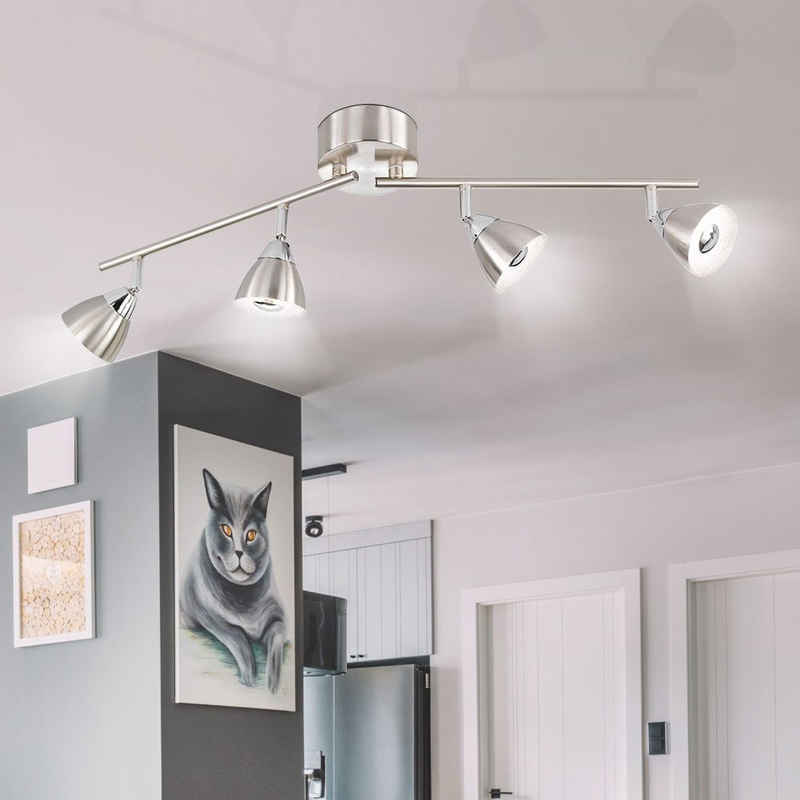 WOFI LED Deckenspot, Spotleiste Deckenleuchte Deckenlampe Wohnzimmer leuchte bewegliche Spots, 4flammig, Metall, Nickel matt, LED, HxBxT 19x11x71, Wofi, 9391.04.64.7000