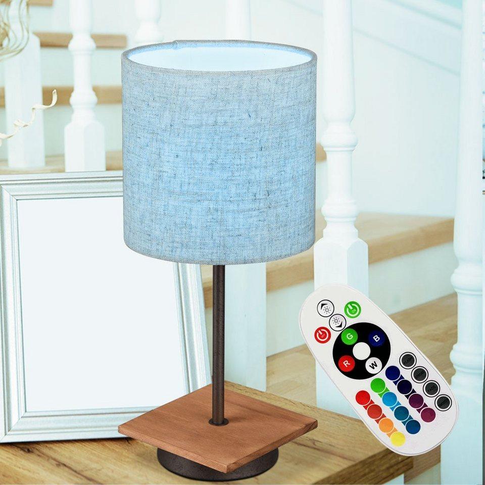 etc shop Tischleuchte, Tisch Lampe Holz Wohn Ess Schlaf Arbeits Zimmer  Textil Schirm Leuchte Farbwechsler Lese Nacht Licht FERNBEDIENUNG im Set  inkl. ...