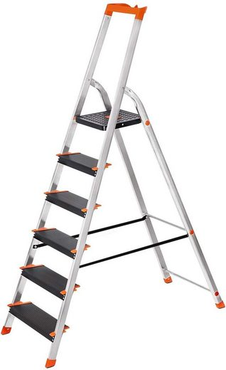 SONGMICS Trittleiter »GLT06BK«, Aluleiter 6 Stufen, 12 cm breite Stufen, rutschfest, bis 150 kg belastbar, schwarz-orange