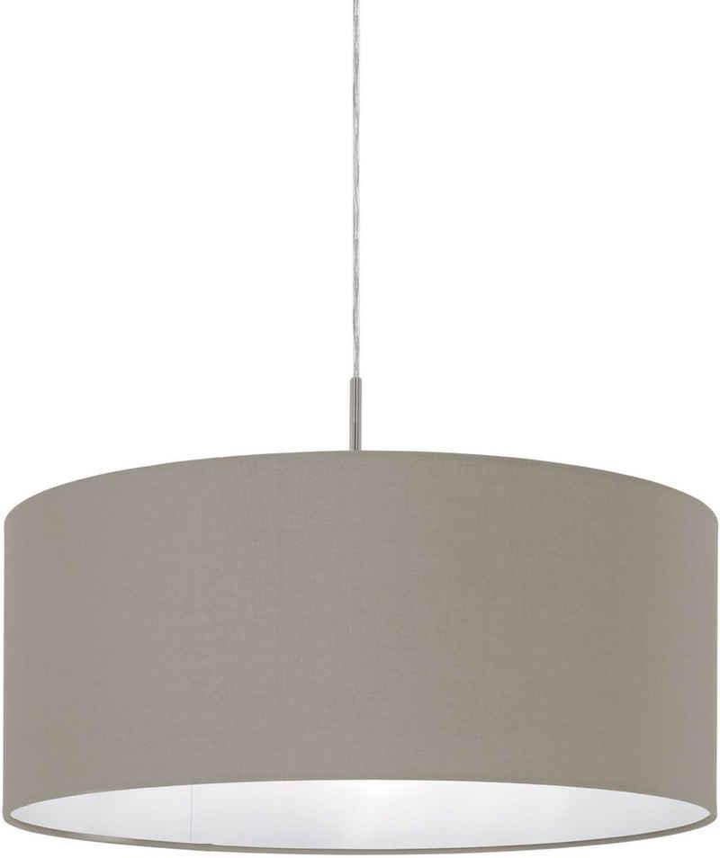 EGLO Pendelleuchte »PASTERI«, nickel-matt / Ø53 x H110 cm / exkl. 1 x E27 (je max. 60W) / Pendellampe aus Stoff - Hängelampe - Esstischlampe - Wohnzimmerlampe - Lampe mit Textilschirm - Schlafzimmerlampe - Esstisch - Hängeleuchte