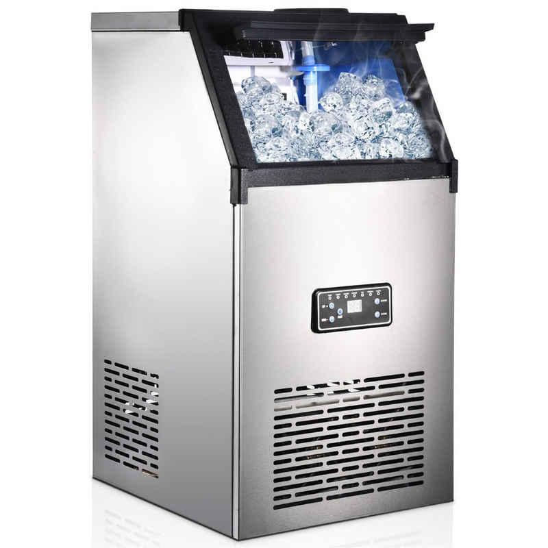 Gotui Eismaschine, Eiswürfelmaschine mit Selbstreinigung, 60 kg 24 h, 20 Min Produktionszeit, 3Würfelgrößen, LCD-Display, Leise DC-Fan, Edelstahl Ice Maker