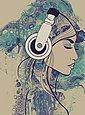 living walls Fototapete »ARTist Acryl Lady«, (Set, 2 St), Aquarell Zeichnung, Vlies, glatt, Bild 1