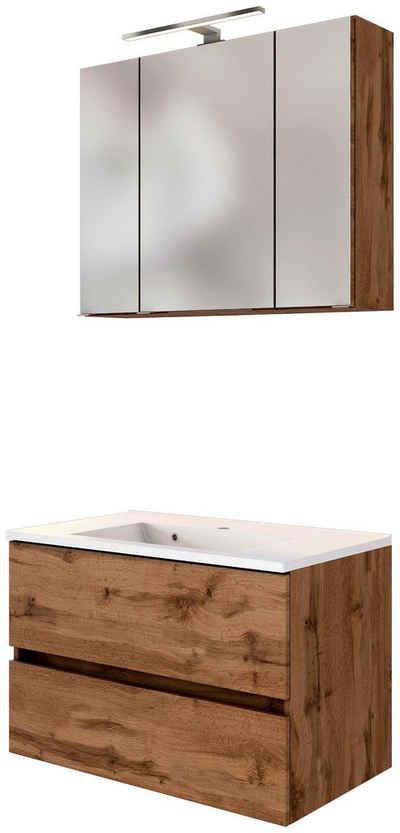 HELD MÖBEL Waschtisch-Set »Baabe«, (Set, 2-St), Breite 80 cm, Softclose-Funktion