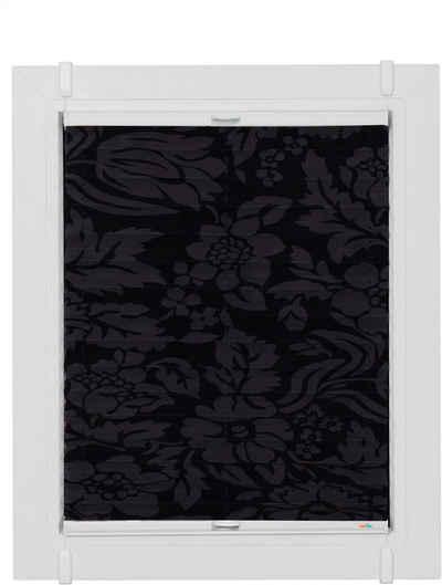 Plissee nach Maß »Classic Style Fleur noir«, sunlines, Lichtschutz, ohne Bohren, verspannt, verspannt mit Simply-Fix Klemmträger