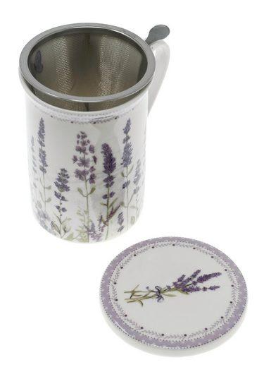 Lashuma Tasse »Lavendel«, Porzellan, Porzellantasse für Tee 300 ml, Trinkbecher mit Sieb und Untersetzer