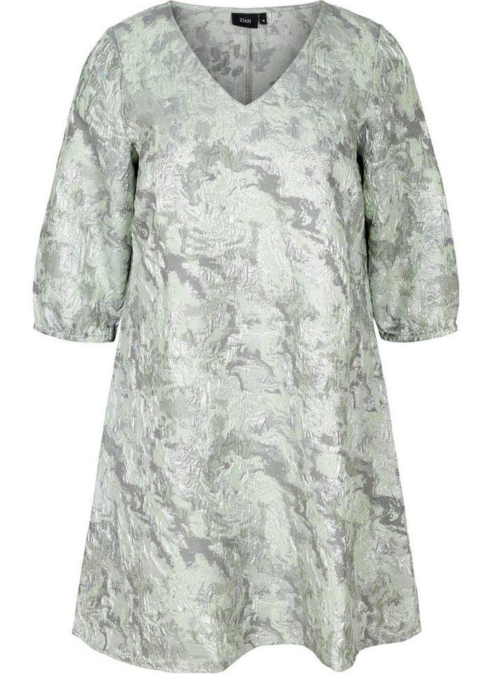 Festtagsmode - Zizzi Abendkleid Große Größen Damen Kleid mit Struktur, Muster, V Ausschnitt und 3 4 Ärmeln ›  - Onlineshop OTTO