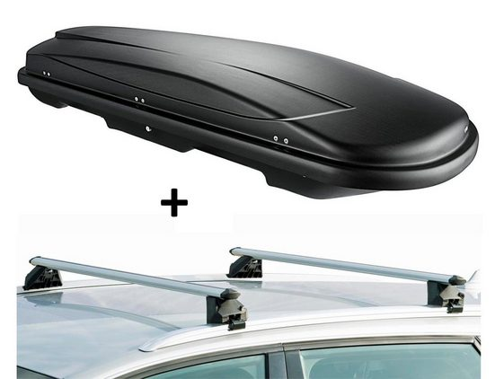 VDP Fahrradträger, Skibox JUXT400 + Alu Relingträger VDPCRV120A kompatibel mit BMW X6 (F16) 5 Türer ab 2015