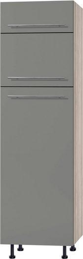 OPTIFIT Kühlumbauschrank »Bern« 60 cm breit, 212 cm hoch, mit höhenverstellbaren Stellfüßen, mit Metallgriffen, geeignet für Einbau-Kühlgefrierkombinationen Nischenmaß 144 cm