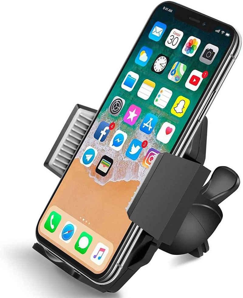 Quntis Handy-Halterung, (Quntis Handyhalter fürs Auto Lüftung, Neuste Klemme für bombenfester Halt, Universal KFZ Halterung für Phone Xs Max, XR, X, 8, 7, 6s, 6, Samsung Galaxy S10 S9 S8 S7 S6 S5 Huawei P20 HTC LG)