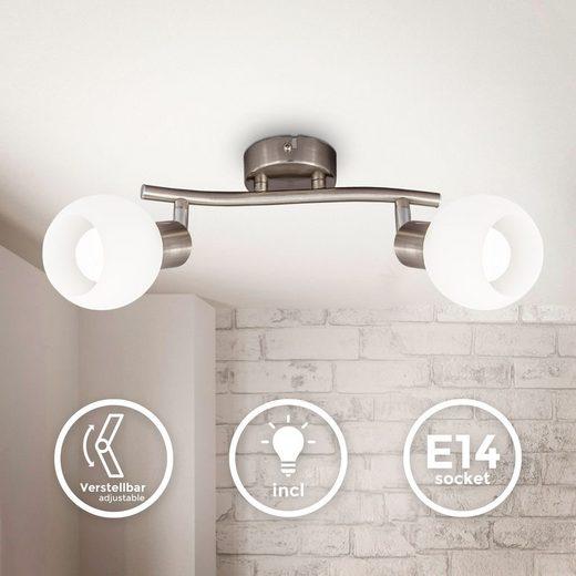B.K.Licht LED Deckenspot »BKL1364«, schwenkbare LED Deckenlampe mit Glasschirm, warmweiße Lichtfarbe, 2x 5W, 3.000 K, E14, 2x 470lm, 2-flammig