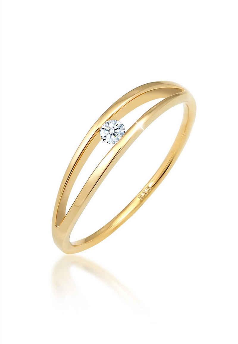 Diamore Verlobungsring »Verlobung Wellen Diamant (0.06 ct) 585 Gelbgold«