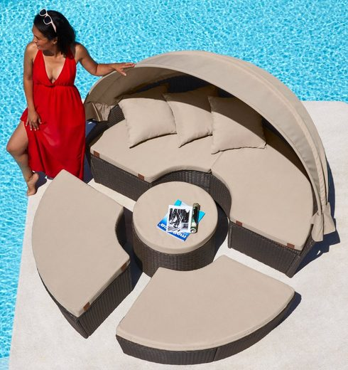 KONIFERA Loungebett »Tahiti NEW«, Polyrattan, braun, inkl. Auflagen