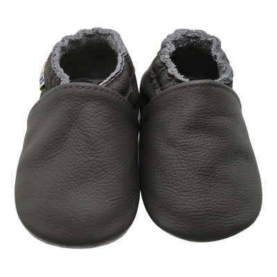 Yalion »Weiche Leder Lauflernschuhe Hausschuhe Lederpuschen Grau 100% Leder« Krabbelschuh