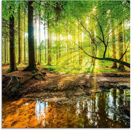 Artland Glasbild »Wald mit Bach«, Wald (1 Stück)