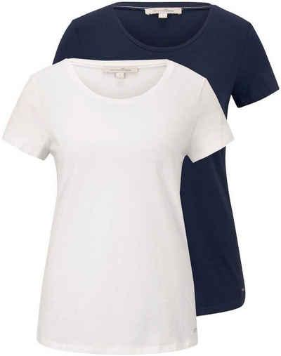 TOM TAILOR Denim T-Shirt (2er-Pack) mit Print und Uni-Farben