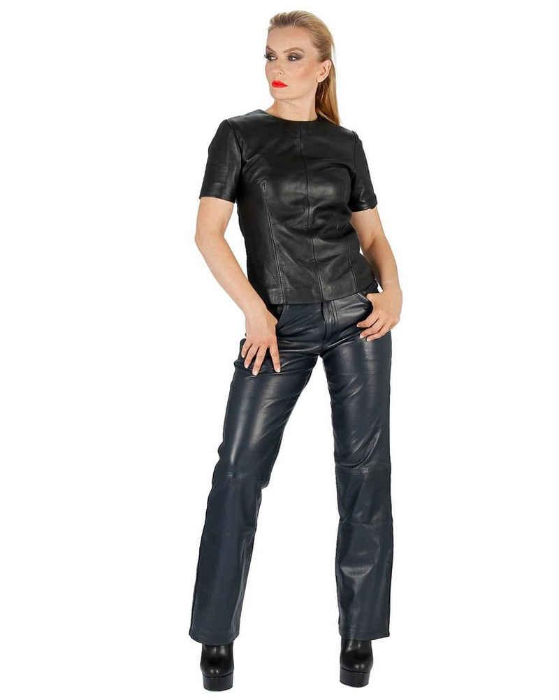 Fetish-Design Lederhose »Lederhose 5-Pocket Dunkelblau Damenlederhose Echtes Leder«