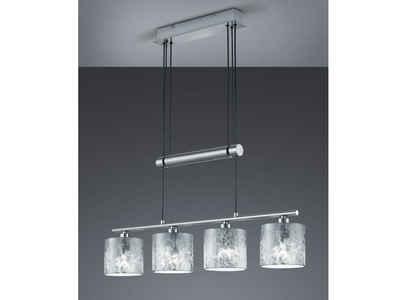 meineWunschleuchte LED Pendelleuchte, dimmbar stufenlos höhenverstellbar, JoJo, Balken Pendel Designer Lampen-Schirme Stoff Silber, 4 flammig, Wohnzimmer Esszimmer Lampen hängend