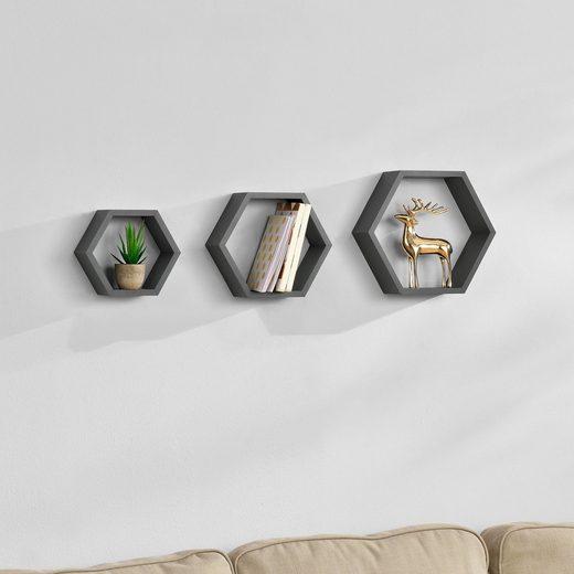 en.casa Wandregal, »Lyngdal« Design Hängeregal Bücherregal dunkelgrau