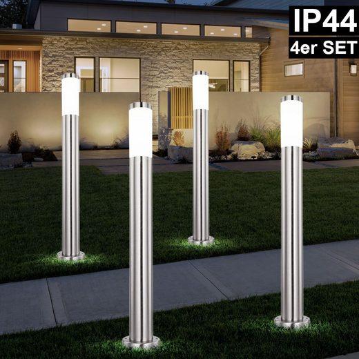 etc-shop LED Außen-Stehlampe, 4er Set Außen Steh Lampen Edelstahl Garten Weg Beleuchtung Edelstahl Hof Terrassen Säulen Leuchten