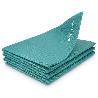 Navaris Yogamatte, klappbare Fitnessmatte - 4mm Sportmatte Fitness Pilates Sport Gymnastikmatte rutschfest - Reisematte faltbar
