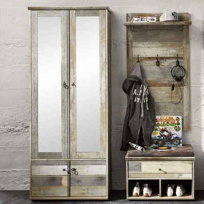 Lomadox Garderoben-Set »BRANSON-36«, (Spar-Set, 3-tlg), Flur in Driftwood Nb. Dielenschrank mit Spiegel B x H x T ca.: 160 x 188 x 40 cm