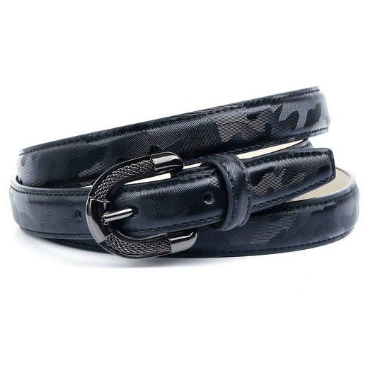 Anthoni Crown Ledergürtel mit aufwendiger Schmuck-Schließe, gemustert