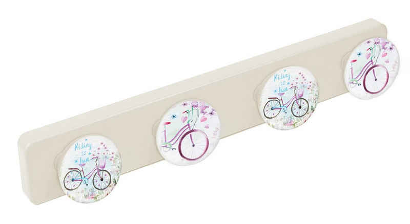 Lashuma Garderobenleiste »Fahrrad«, Große Kinderhaken, 4er Hakenleiste 41x6 cm