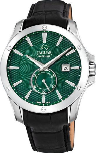 Jaguar Chronograph »UJ878/3 Jaguar Herren Armbanduhr ACM«, (Analoguhr), Herrenuhr rund, groß (ca. 44mm), Edelstahl, Lederarmband, Sport-Style