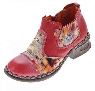 TMA »Leder Stiefeletten TMA 5195 Knöchel Schuhe Boots« Stiefelette Used Look, Zeitungsdruck, Ungefüttert, Ganzjahresartikel