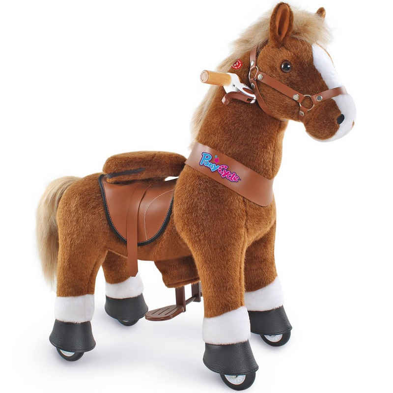 PonyCycle Reitpferd »Modell U 2021 Reiten auf Pferd Spielzeug Plüsch Lauftier - Braunes Pferd mit Bremse und Ton«, U3 für 3-5 Jahre, Ux324, PonyCycle® Offizieller Shop