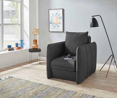 INOSIGN Polstergarnitur »Tiny Mike«, (2-tlg), Verwandlungssessel - Hocker im Sessel versteckt, mit Keder und feiner Steppung, Breite 94 cm