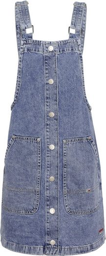 TOMMY JEANS Latzkleid »SHORT DUNGAREE SNAP DRESS MMBRG« mit Tommy Jeans Logo-Badge