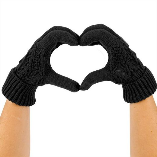 Bruno Banani Strickhandschuhe Damenhandschuh Grobstrick, Strickhandschuh mit Zopfmuster