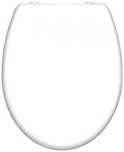 welltime WC-Sitz »Premium«, hochwertiger abnehmbarer Toilettendeckel mit Absenkautomatik, Bruchsicher und kratzfest, mit Schnellverschluss, weiß, geeignet für alle handelsüblichen WC's