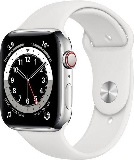 Apple Series 6 GPS + Cellular, Edelstahlgehäuse mit Sportarmband 44mm Watch (Watch OS), inkl. Ladestation (magnetisches Ladekabel)