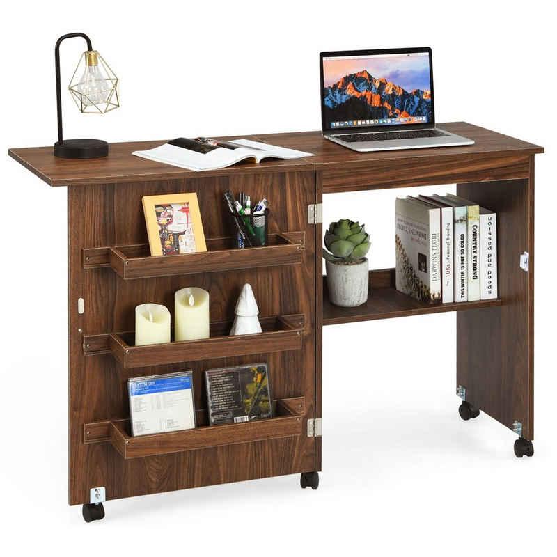 COSTWAY Computerschrank »Nähschrank« klappbar, rollbar, für Wohnzimmer, Schlafzimmer und Büro