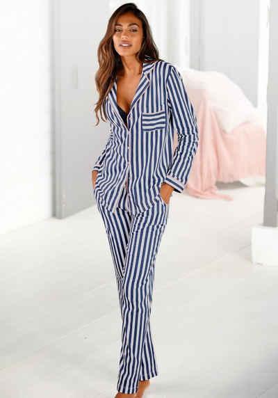 H.I.S Pyjama in klassischem Schnitt mit Streifenmuster