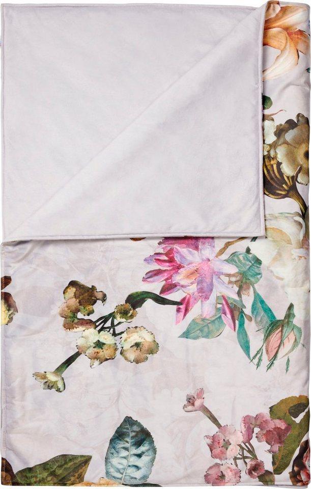 ESSENZA Plaid Wohndecke Fleur Taupe Sofadecke Blumen Blüten Rosen 135x170 cm