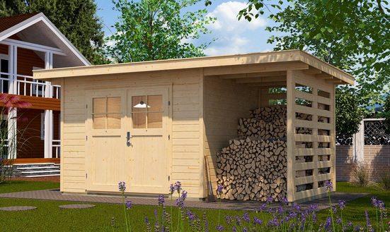 WEKA Set: Gartenhaus »179A Gr.2«, BxT: 430x311 cm, Anbaudach mit Seiten- & Rückwand, Fußboden