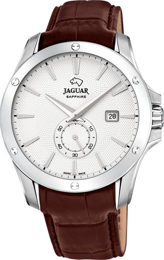 Jaguar Chronograph »UJ878/1 Jaguar Herren Armbanduhr ACM«, (Analoguhr), Herrenuhr rund, groß (ca. 44mm), Edelstahl, Lederarmband, Sport-Style